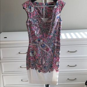 French Connection V neck pink floral dress